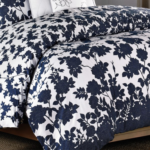 CLOSEOUTS . Like silhouettes at dusk, a garden of botanical beauty rises from the solid indigo border and spreads across the surface of Barbara Barryand#39;s Kimono Full-Queen duvet cover. In lustrous cotton sateen with stippled visual texture. Available Colors: INDIGO. Sizes: FULL/QUEEN.