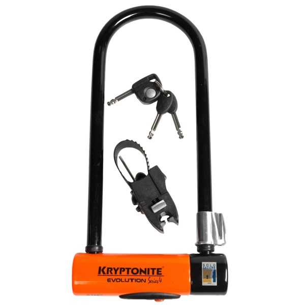 CLOSEOUTS . Get reliable protection for your valuable ride with the Kryptonite Evolution Series 4 U-Lock. Itand#39;s made of 14mm steel with a hardened oval crossbar and double deadbolt design. Available Colors: SEE PHOTO.