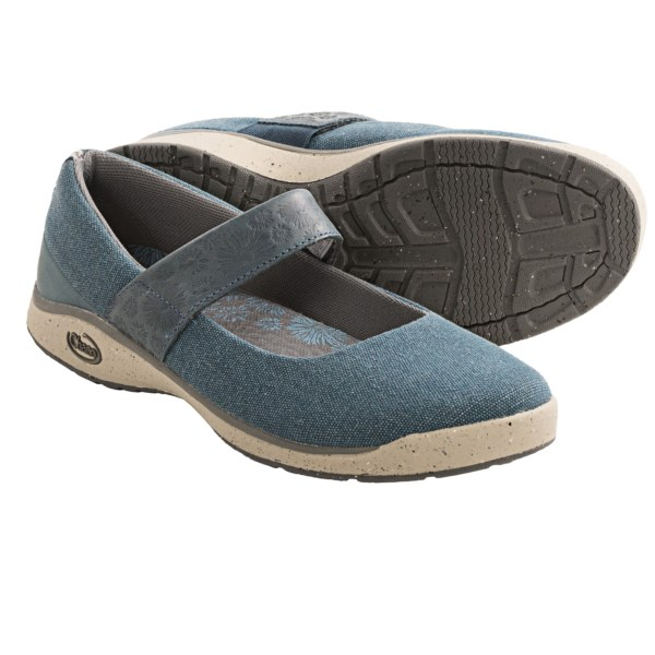 CLOSEOUTS . Take on your outdoor adventure in these cute Chaco Gala Mary Jane shoes. The woven canvas and leather upper is durable, and the lovely embossed leather instep strap stretches with your foot movements. But, these gems donand#39;t just look good, they have performance features such as the superior tread and cradling insole. Available Colors: REFLECTING POND, RUM RAISIN, BUNGEE. Sizes: 5, 5.5, 6, 6.5, 7, 7.5, 8, 8.5, 9, 9.5, 10, 10.5, 11.