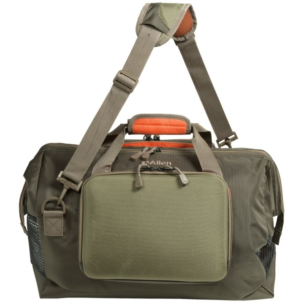 CLOSEOUTS . The Allen Co. Big Horn wader bag offers durable storage for your favorite waders. The ventilated, lined main compartment has a gate-mouth design that stays open during loading and unloading. Available Colors: GREEN/ORANGE.