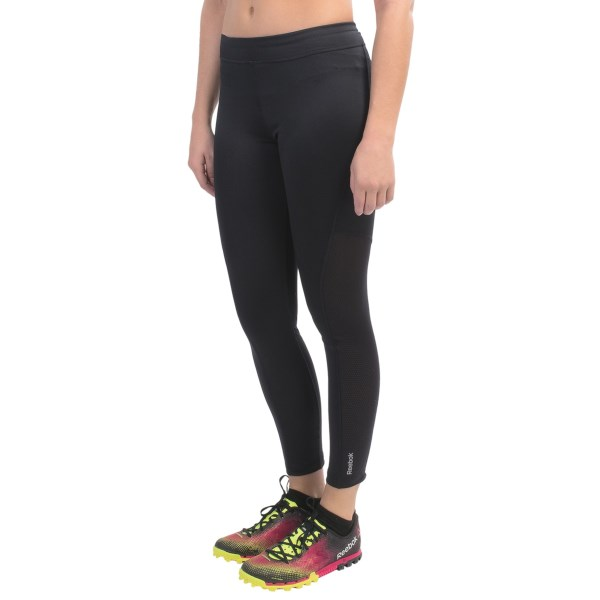 CLOSEOUTS . The slim, stretchy design of Reebokand#39;s running tights offers muscle support and compressive recovery for all things active, but itand#39;s the mesh side panels that complete the package, making these babies a breathable, supportive, athletic all-star. Available Colors: BLACK. Sizes: XS, S, M, L, XL.