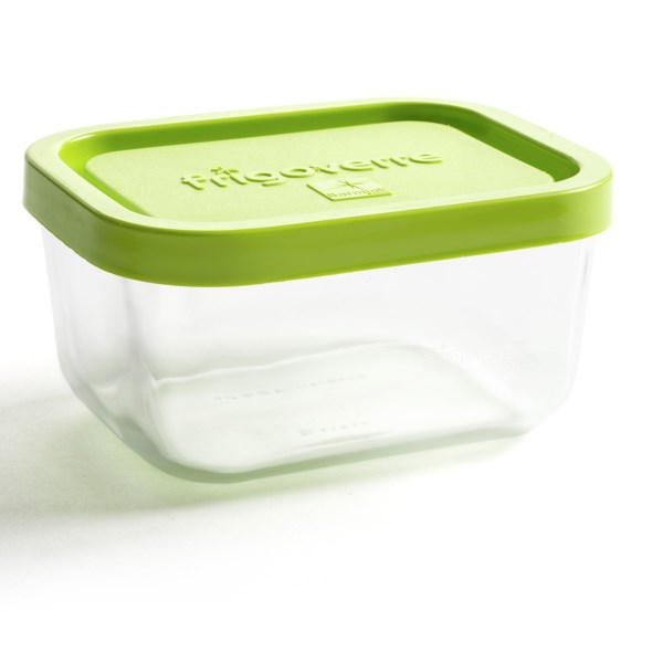 CLOSEOUTS . Bormioli Roccoand#39;s rectangle food storage container features shock-resistant tempered glass construction thatand#39;s stain- and odor-proof. Food heats quickly thanks to the microwave-safe design, and clean up is a snap since itand#39;s dishwasher safe. Available Colors: LIME GREEN, FROST.