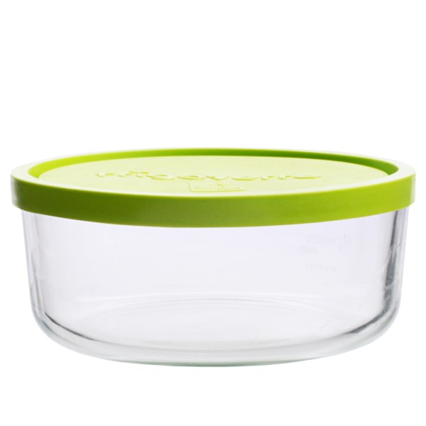 CLOSEOUTS . Made from shock-resistant tempered glass, Bormioli Roccoand#39;s round food container easily goes from freezer to oven or microwave, and clean up is simple with the dishwasher-safe design. Available Colors: LIME GREEN.