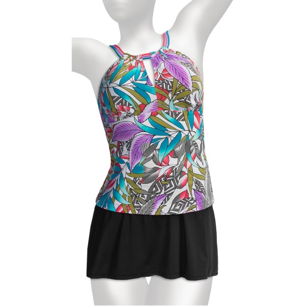 CLOSEOUTS . Show off your fun side when you sport the It Figures Tribal Council tankini. Featuring body shaping technology, this suit comfortably smooths your curves so you feel as good as you look, and the saucy strappy straps add an eye-catching element. Available Colors: MULTI. Sizes: 16W, 18W, 20W, 22W, 24W.