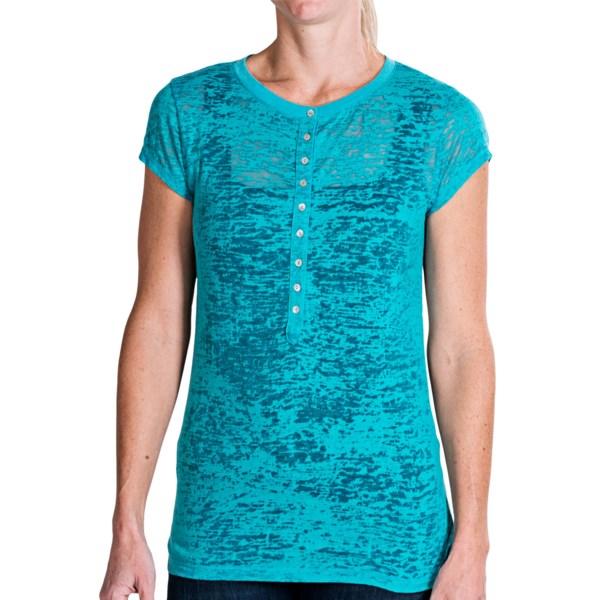 dylan Shadow Slub Henley Shirt - Short Sleeve (For Women)