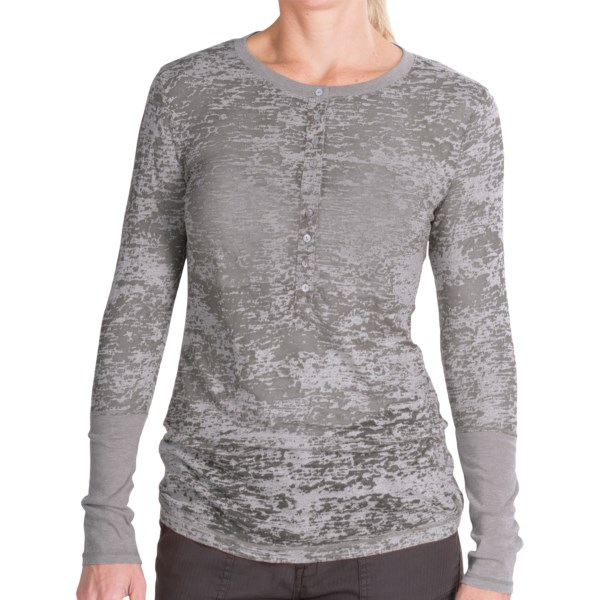 dylan Shadow Slub Henley Shirt - Long Sleeve (For Women)