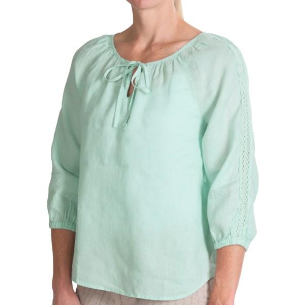 dylan Crochet-Trim Peasant Blouse - Hemp, 3/4 Sleeve (For Women)