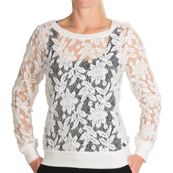 dylan Luxe Crochet Mesh Sweatshirt (For Women)