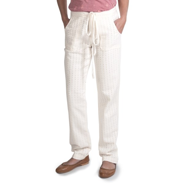 CLOSEOUTS . A touchable twist on a classic look, Dylanand#39;s textured stripe pants feature soft cotton twill with an eye-catching raw-edge stripe pattern. The zip-and-button entry is uniquely topped off with a built-in tie belt in silky-soft jersey knit. Available Colors: FRESH WHITE, FADED GREY. Sizes: 2, 4, 6, 8, 10, 12, 14.