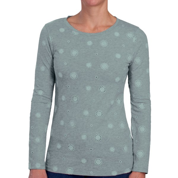 CLOSEOUTS . Soft-knit jersey cotton features a unique touch of floral eyelet in this Dylan original; the simple cut and heathered backdrop offer an easy-going yet dimensional appeal. Available Colors: HEATHERED PUNK PINK, HEATHERED CHARCOAL GREY, HEATHERED VINTAGE CHAMBRAY, HEATHERED GREY, WHITE, BLACK, HEATHERED OATMEAL. Sizes: XS, S, M, L, XL.