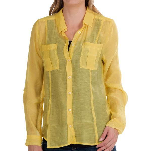 dylan Sand and Sea Silky Shirt - Button Down, Roll Long Sleeve (For Women)