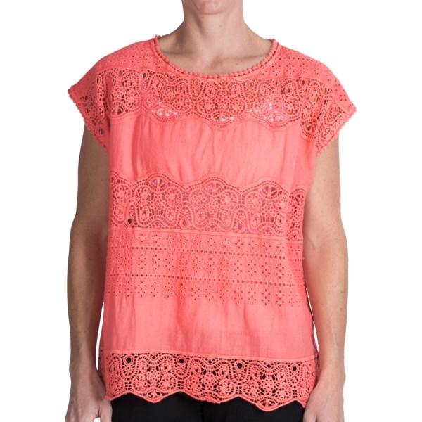 dylan Crochet Eyelet Shirt - Cotton Voile, Sleeveless (For Women)