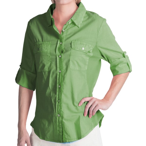dylan Cotton Voile and Ribbed Trim Shirt - Roll-Up 3/4 Sleeve (For Women)