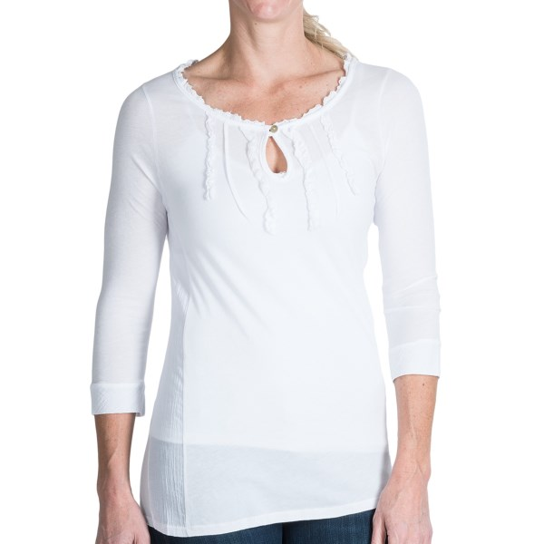 dylan Gauze Cotton Ruffle Shirt - 3/4 Sleeve (For Women)