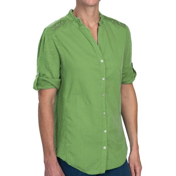 dylan Crochet Detail Shirt - Button Front, Long Sleeve (For Women)