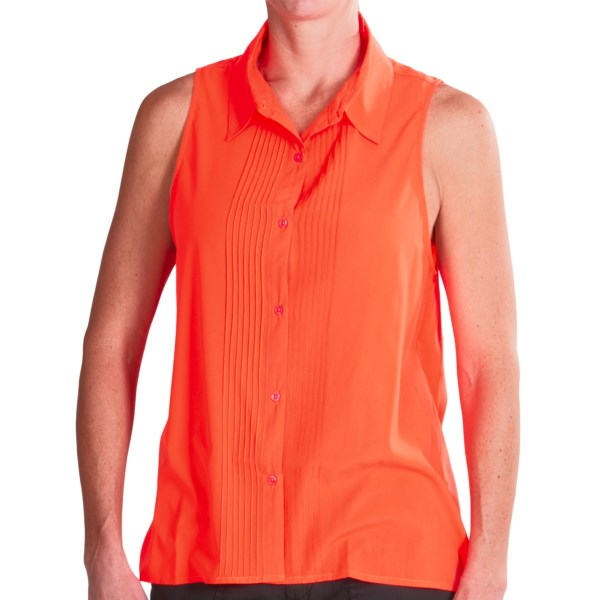 CLOSEOUTS . Whether you go bare-armed and pair it with leggings, or layer it under a tailored blazer, the clean, chic finish of Dylanand#39;s Neon Neutrals sleeveless blouse cannot be denied. This timeless, collared style comes with seven vertical pintucks on both sides of the placket and the flowy-soft silky fabric you canand#39;t resist. Available Colors: WHITE, HOT PINK, ROYAL BLUE, YELLOW, FRESH GREEN, HAPPY ORANGE. Sizes: XS, S, M, L, XL.