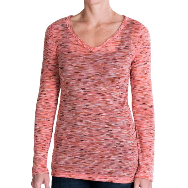 CLOSEOUTS . Softly knit and lightly slubbed, dylanand#39;s Slubby space-dye shirt brings an airy, semi-sheer style to your casual wardrobe, offering a variety of layering options and a flattering, three-layer V-neck. Available Colors: WHITE, HOT PINK, CHARCOAL, KHAKI. Sizes: XS, S, M, L, XL.