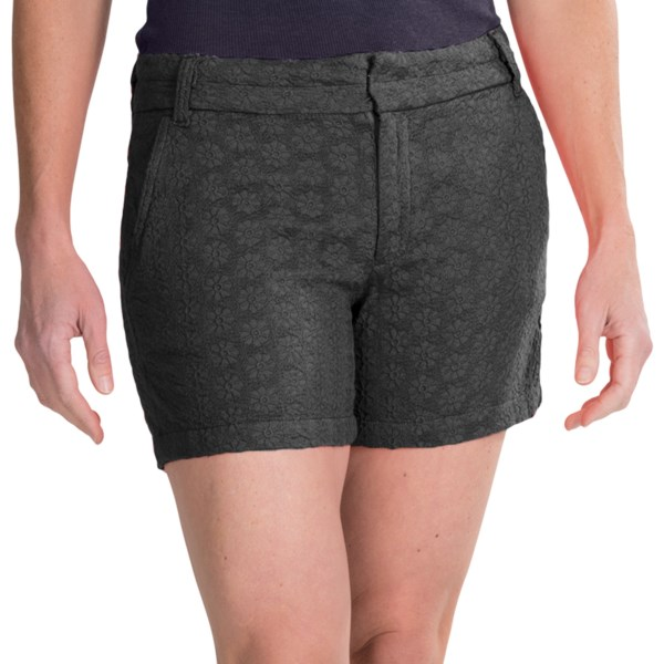 CLOSEOUTS . Give your summer style a bohemian makeover with Dylanand#39;s floral crochet shorts. Beautifully detailed in intricate embroidery atop a supersoft cotton, they add a rich, dimensional charm to your look thatand#39;s both feminine and unique. Available Colors: LIGHT NATURAL, BLACK, LIGHT KHAKI, INDIGO, CHARCOAL GREY/BROWN, VINTAGE RED. Sizes: 2, 6, 8, 10, 12, 14, 4.