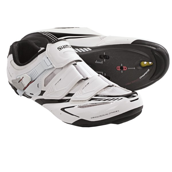 CLOSEOUTS . An excellent choice for race-ready roadies seeking a stiff shoe without sacrificing comfort. Shimanoand#39;s SH-R170 road cycling shoes feature Dynalast technology, which offers superior power by improving efficiency on the upstroke. Available Colors: BLACK, WHITE. Sizes: 38, 39, 39.5, 40, 41, 41.5, 42, 42.5, 43, 43.5, 44.5, 45.5, 46, 46.5, 47, 48, 40.5, 44, 45.
