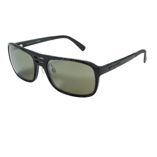 CLOSEOUTS . Serengetiand#39;s Lorenzo sunglasses are a functional fusion of cosmopolitan style and unbeatable optical performance. Glare-cutting polarized glass lenses offer optical clarity, and photochromic technology adjusts the lens tint to accommodate changing light conditions. Available Colors: SHINY GREY MARBLE/555 NM, SHINY BLACK/555 NM, SATIN DARK BROWN SHINY COGNAC/ DRIVERS GOLD MIRROR.