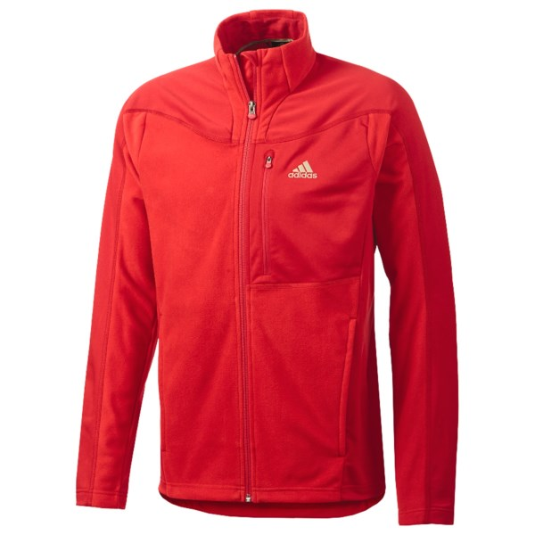 CLOSEOUTS . Getting your hike, bike, run or chill on is easy in the Adidas Hiking Fleece jacket. The warm fleece has smooth, moisture-wicking and quick-drying insets to help regulate temperature in changing conditions and varying levels of exertion. Available Colors: AMAZON GREEN, LIGHT SCARLET, BLACK. Sizes: S, M, L, XL, 2XL.