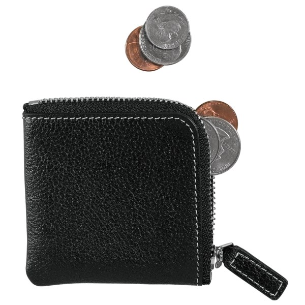 CLOSEOUTS . Ultra tiny at just 3andquot; square, Levengerand#39;s zip coin case holds a handfuland#39;s worth of change or tokens. Available Colors: BLACK.