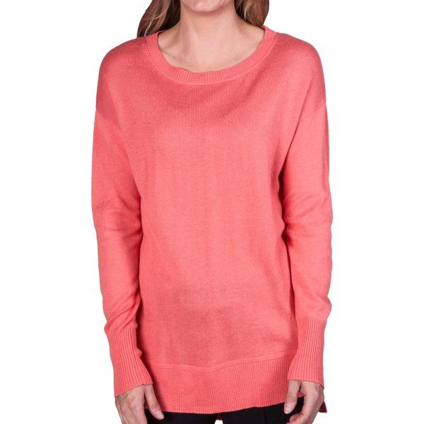 CLOSEOUTS . Just the right weight for spring and fall, this August Silk sweater gets the style right in a flattering tunic length with fashionable high-low hem. Available Colors: FRESH SALMON, SUNNY DAY, BLUE BELL, BAVARIAN CREAM. Sizes: S, M, L, XL.