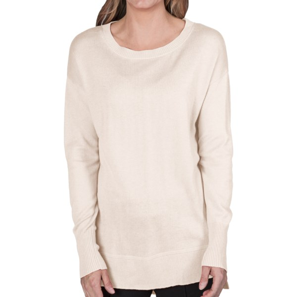 August Silk Drop Shoulder Sweater - Boat Neck (For Women)