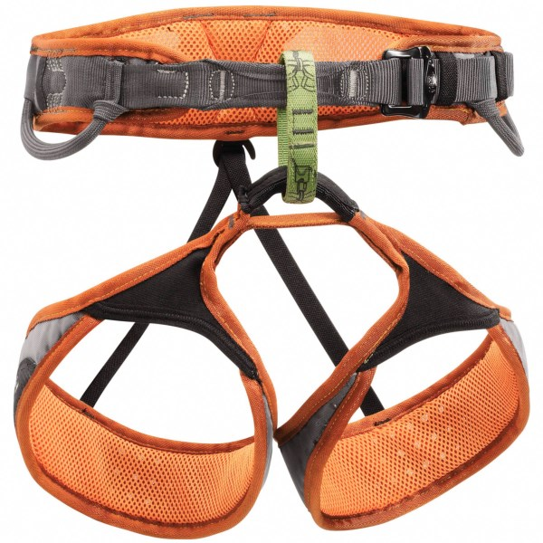 CLOSEOUTS . Petzland#39;s Sama climbing harness is a great choice for sport climbing, with weight-distributing EndoFrame construction, elastic leg loops and a DoubleBack waistbelt buckle for easy adjustments. Available Colors: CORAL. Sizes: L, XL.