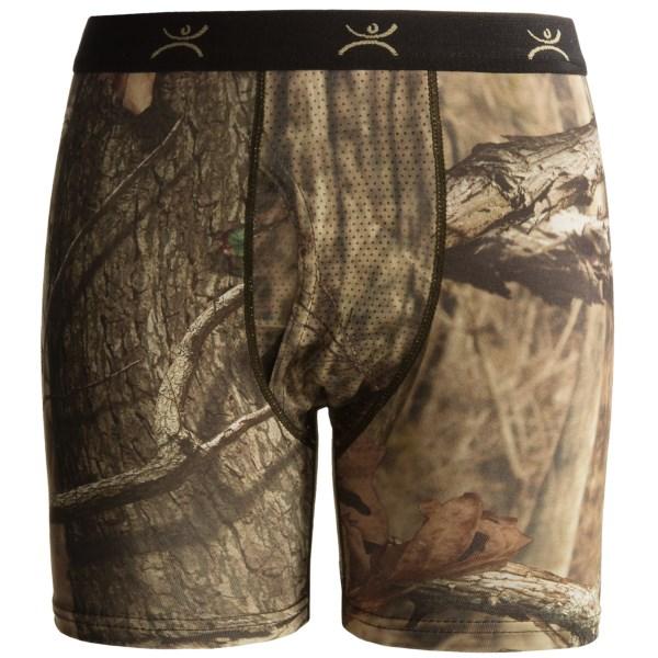 CLOSEOUTS . A high-performance first layer for any season, Terramar Stalker Thermolater II boxer briefs are made of Qwik-Driand#174; EC2and#174; fabric that wicks moisture, breathes and regulates temperature to deliver comfort at the next-to-skin level. Available Colors: MOSSY OAK BREAKUP INFINITY. Sizes: XS, S, M, L, XL.