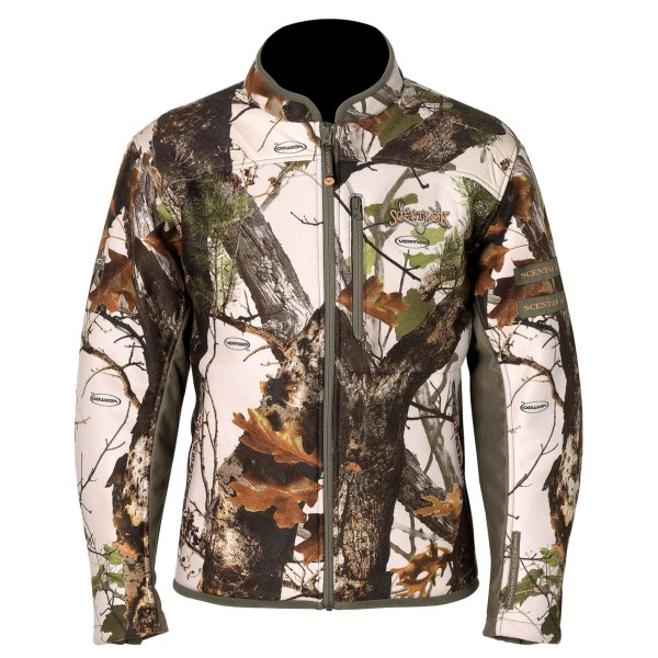 CLOSEOUTS . Plush fleece lining adds warmth to the dependable stealth and protection of Scent-Lokand#174;and#39;s Full-Season Recon jacket, featuring a quiet, scent-trapping shell with a contoured fit and weather-resistant shoulder panels and zip sleeve openings. Available Colors: VERTIGO GREY. Sizes: M, L, XL, 2X.