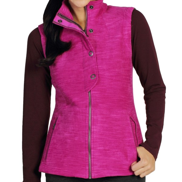 CLOSEOUTS . A snap half placket and slub-effect microfleece brings a stylish flair to ExOfficioand#39;s Calluna fleece vest, a distinctive piece to sass up your cool-weather wear with just a hint of military inspiration. Available Colors: EVENING, DAZZLE, AQUATIC. Sizes: XS, S, M, L, XL.