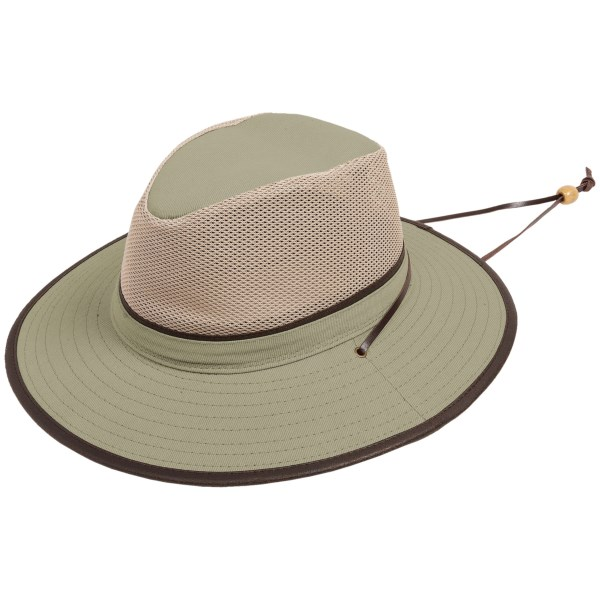 CLOSEOUTS . With its wide, sturdy brim and full mesh crown, Dorfman Pacificand#39;s safari hat offers 360-degree shading and ventilation, complete with a sun-busting UPF 50  treatment to fend off mid-day rays. Available Colors: KHAKI. Sizes: S, M, L, XL.
