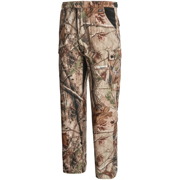 CLOSEOUTS . ScentBlocker Brotherhood hunting pants are made of quiet, warm, soft and moisture-wicking fleece that blocks human odor and provides plenty of pockets for in-the-field storage. Available Colors: REALTREE AP. Sizes: M, L, XL, 2XL.