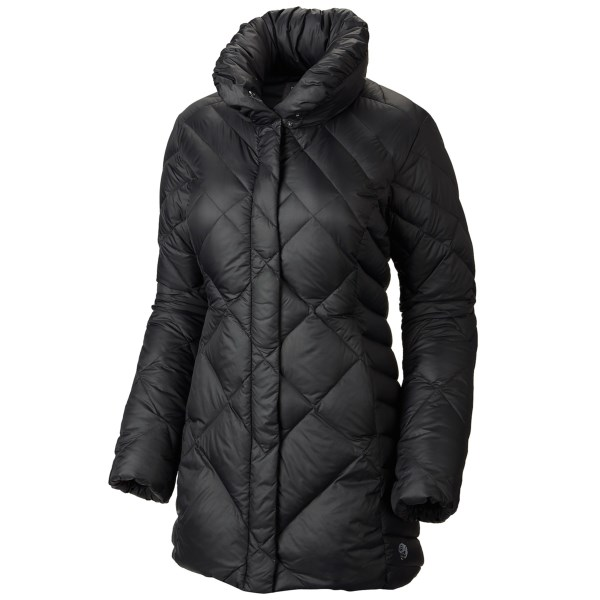 CLOSEOUTS . Featuring a longer cut for added coverage, Mountain Hardwearand#39;s Citilicious jacket takes on frigid winter conditions with advanced Q.Shieldand#174; down insulation that resists warmth-robbing moisture and retains maximum loft, even when wet. Available Colors: BLACK, ARISTOCRAT, POMEGRANATE. Sizes: XS, S, M, L, XL.