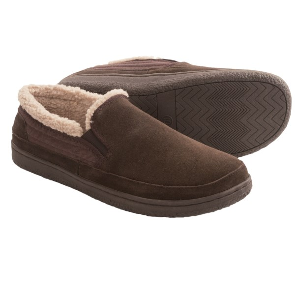 CLOSEOUTS . Whose feet  wouldnand#39;t  want to hide away in these HideAways by L.B. Evans Thornton slippers? The plush Berber fleece lining beckons in tired toes, greeting them with a cozy bed of softness. Available Colors: CHOCOLATE. Sizes: 8, 9, 10, 11, 12, 13.