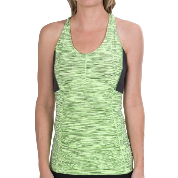 CLOSEOUTS . A little ruching goes a long way in disguising trouble spots in your midsection, and youand#39;ll love the stylish halter back of lucyand#39;s Perfect Core Halter top. Close compressive fit feels great during yoga or high-adrenaline workouts. Available Colors: LIGHT KEY LIME NEON SPACEDYE STRIPE, FOSSIL/LIGHT KEY LIME NEON SPACEDYE STRIPE. Sizes: XS, S, M, XL, L.