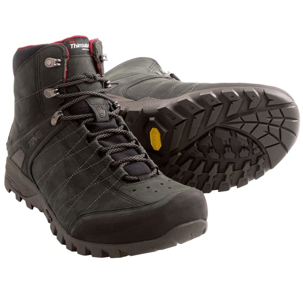 CLOSEOUTS . Cold, wet conditions on the trail are no match for Tevaand#39;s Riva Winter mid hiking boots, which come ready for snow and slush with 200g Thinsulateand#174; insulation and a T.I.D.E. Seal waterproof breathable membrane. Available Colors: BLACK. Sizes: 7, 7.5, 8, 8.5, 9, 9.5, 10, 10.5, 11, 11.5, 12, 13.