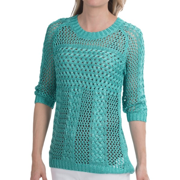 CLOSEOUTS . An infusion of shimmery thread brings a glistening touch to FDJ French Dressingand#39;s Electric cable sweater, a semi-sheer stunner thatand#39;s perfect for layering with tanks or flouncy button-ups. Available Colors: TURQUOISE. Sizes: XS, S, M, L, XL, 2XL.