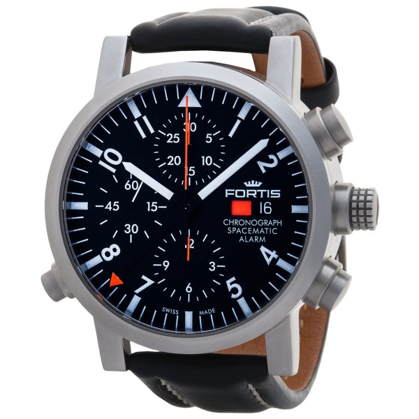 Fortis Spacematic Alarm Chronograph Watch Leather Strap (For Men)