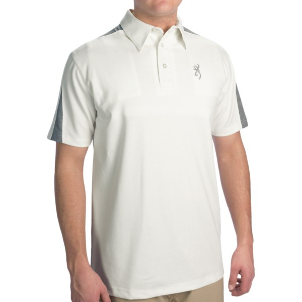 CLOSEOUTS . Stay comfortable and focused on your next shot in Browningand#39;s Highline shooting polo shirt. The soft, moisture-wicking fabric blend has comfortable stretch and an internal REACTAR G2 pad pocket. Available Colors: WHITE. Sizes: S, M.