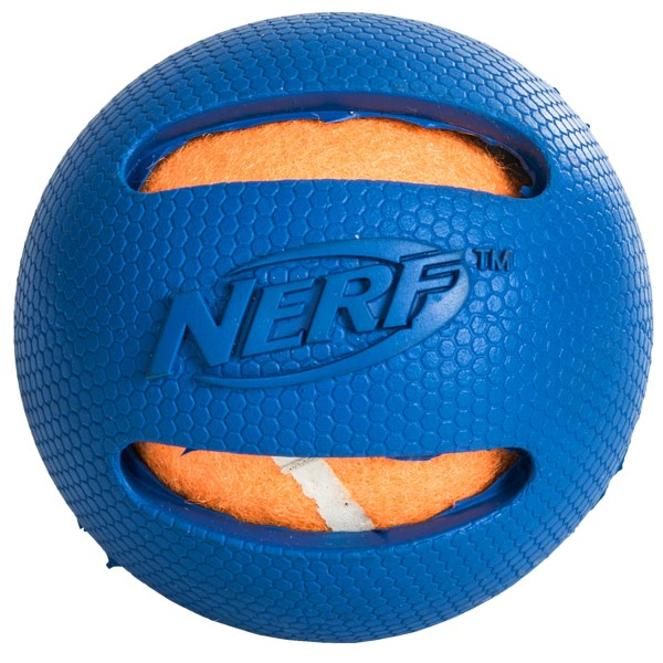 CLOSEOUTS . The Nerf Dog rubber tennis ball features a regular tennis ball with a durable, long-lasting rubber coating. Available Colors: GREEN, BLUE/ORANGE, RED/GREEN.