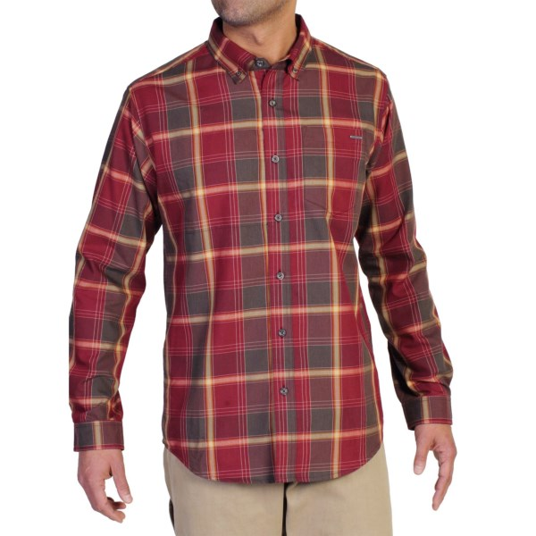 CLOSEOUTS . ExOfficioand#39;s Arabica plaid shirt is crafted with JavaTech technology that actually embeds recycled coffee grounds in the fabric to increase wicking performance, neutralize odors and keep you feeling fresh all day. Available Colors: TANGO, PETROL, ROAD. Sizes: S, M, L, XL, 2XL.