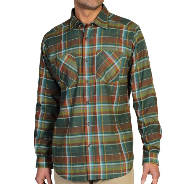 CLOSEOUTS . With its soft, breathable fabric and handsome flannel pattern, ExOfficioand#39;s Geode shirt is a sharp-looking addition to any manand#39;s casual wardrobe. Available Colors: TOUGH, PETROL, ISLE. Sizes: S, M, L, XL, 2XL.