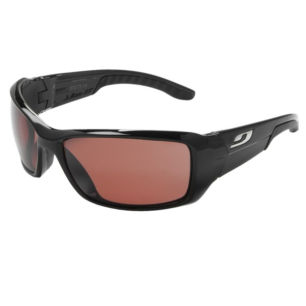 CLOSEOUTS . High-performance eyewear for driving and travel, Julboand#39;s Run sunglasses feature polarized Falcon lenses with an anti-reflective coating that adjust automatically to changing light conditions. Available Colors: BLACK/FALCON.