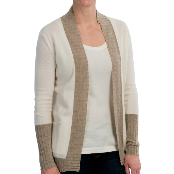 CLOSEOUTS . You would have loved the creamy-soft hues in this Brodie cardigan sweater even before we told you it was made of luscious cashmere. Wear it again and again without worrying about the dry-clean bill; itand#39;s completely machine washable. Available Colors: WHITE/LIGHT BROWN. Sizes: M.
