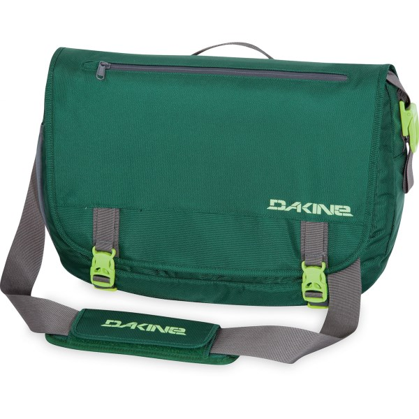CLOSEOUTS . An oversized choice for commuters and travelers, the DaKine messenger bag features a spacious main compartment that holds a 17andquot; laptop and features easy zip access from the back panel. Available Colors: FOREST, OFFSHORE, BLACK, SWITCH.