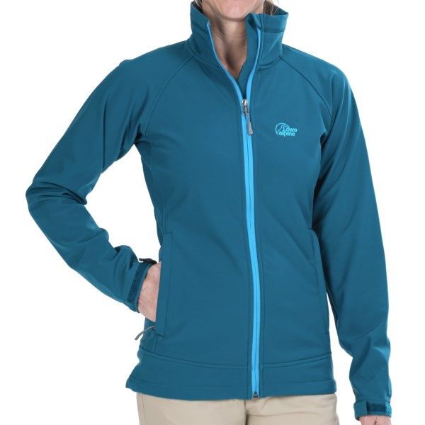 CLOSEOUTS . Get solid weather protection in a breathable, flexible package with Lowe Alpineand#39;s Vapour Trail jacket, featuring a water-repellent, wind-resistant stretch soft shell with moisture-wicking fleece interior. Available Colors: BLACK/BLUEJAY, EGGPLANT/HOLLYHOCK, TEAL/BLUEJAY, BLACK/ANTHRACITE, ROSEHIP/ANTHRACITE, 06. Sizes: 10, 12, 14, 16, 8.