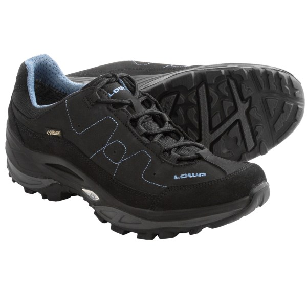 CLOSEOUTS . The perfect all-weather crossover, Lowa Toro Gore-Texand#174; Lo trail shoes have a highly breathable smooth nubuck and suede upper. The Vibramand#174; outsole and polyurethane Monowrapand#174; frame provide comfort for trail and everyday use. Available Colors: BLACK/DENIM, BROWN/RED, LIGHT GREY/BLUE, GREY/GREEN. Sizes: 6.5, 7, 7.5, 8, 8.5, 9, 9.5, 10, 5.5, 6, 10.5, 11.