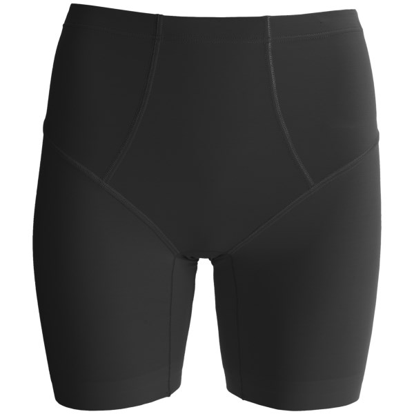 CLOSEOUTS . Wearing something that not only feels good but also helps you look awesome is what Calidaand#39;s Shape Mid-Waist Shapewear shorts are all about. Shaping mesh at the tummy and hips creates a superior slimming effect, and the supersoft fabric stretches for a comfortable fit. Available Colors: TEINT, BLACK. Sizes: 36, 38, 40, 42, 44, 46.